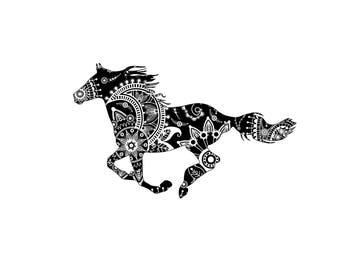 Mandala horse svg, zentagle horse svg, mandala horse clipart, mandala horse design, mandala style horse, ethnic horse svg
