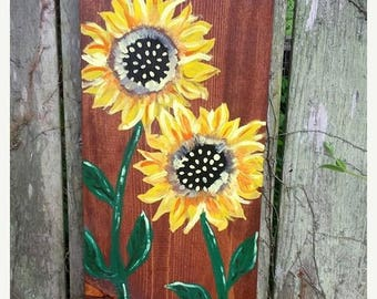 "25%OFF SUNFLOWER Large Pretty Flower Art Painted On Reclaimed Wood Plank Painting Scott D Van Osdol Garden Porch Home Wall Decor 9-1/4x19"" U"