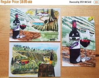 "SALE Tuscany Italy Vineyards Set Of Three 4x6"" POSTCARD Watercolor Art Prints By Scott D Van Osdol Coastal Abstract Italian Vacation Wine Gl"
