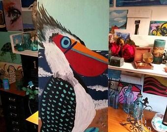 "SALE Reclaimed Wood Hand Painted FUNKY PELICAN Seascape Art Scott D Van Osdol Coastal Nautical Shore Florida Bird 11x25"" Artwork Unique Piec"