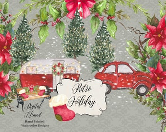 Digital Clipart, Watercolor Clipart, Vintage Red Car and Camper, Snow, Lights, Hand Painted Retro Camper Clip-art, Pine Tree. No. WC73