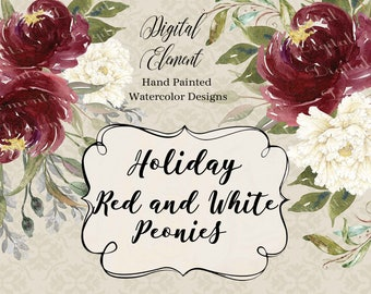 Watercolor Peonies Clip-art, Christmas Red Peonies, Wedding Peony Clip-art, Winter White Clip-art Floral. No. WC82