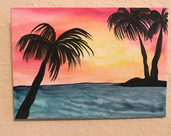 Maui, beach, sunset, ombre, palm trees, sunchibe, sea, ocean, beach day, painting, office, birthday, relax, vacation, watercolor, canvas