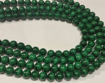 """6mm Malachite Round Beads 10mm , Length of strand 15.5 """"  top Quality"""