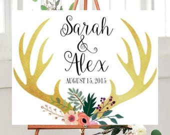 Printable Wedding Sign, Wedding Printables, Wedding Signs Printable, Deer Wedding Sign, Rustic wedding,  Custom wedding sign