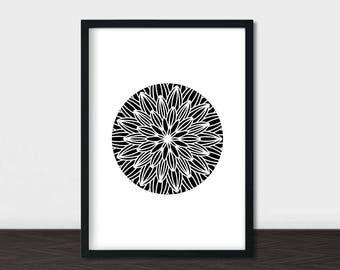Black and White Mandala Art Print, Mandala Home Decor, Geometric Abstract Wall Art, Mandala Decor, Mandala Abstract, Instant Download Art