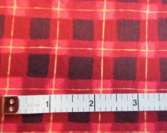 KP Kids For SSI Quilt/Craft Fabric - Red & Black Plaid - Vintage - 1/2 Yd.