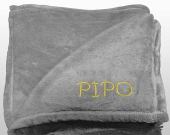 Personalized Multi-use Polar Sofa Bed Travel Fleece Blanket with Name - Ref. Dulcelina - Grey
