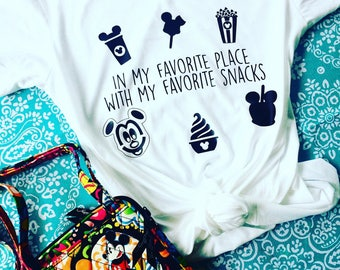 In my Favorite Place with my Favorite Snacks-Disney Shirts-Magic Kingdom-Disney World-Disney Clothing-Disney Tank Tops-Disney Snack Goals