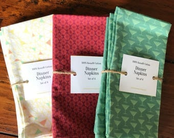Set of 2 or 4 Green Martini Glass Made-To-Order Cotton Dinner Napkins
