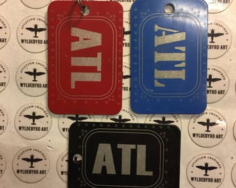 ATL airport city code aluminum luggage tag