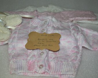 x 4 hand knitted cardigans + booties  suit baby girl newborn to 3 months pink baby cardigan white baby cardigan booties x 4 handmade items