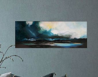 After the storm. Original painting, oil painting, hand-painted, blue painting, green, yellow