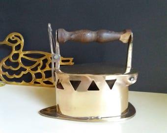 Vintage Brass Coal Iron + Duck Trivet Stand