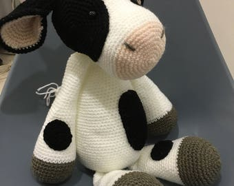 Crochet cow, amigurumi, moo, stuffed toy, plushie, baby, farm animal
