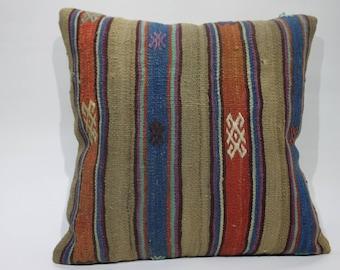 striped kilim pillow decorative kilim pillow throw pillow 20x20 handwoven kilim pillow boho pillow turkish kilim pillow cushion cover 1270
