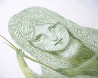Green girl • Original drawing