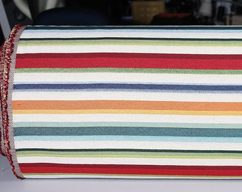 0,5 mètre de brocart tissé en Espagne, motif à rayures multicolores (Madrid)