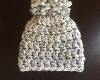 Gray chunky yarn baby hat, gray baby hat with pom pom, 3 month gray baby hat, gray baby beanie
