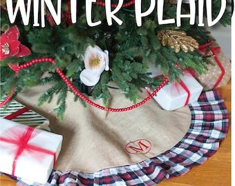 Embroidered Tree Skirt/ Tree Skirt/ Christmas Decor/ Christmas tree skirt