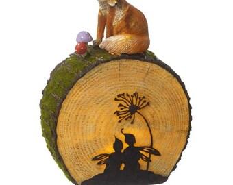 Garten Solar Leuchten Log Und Fuchs Wald Dekoration. Feen, Tierwelt, Pixie,  Geheimnis