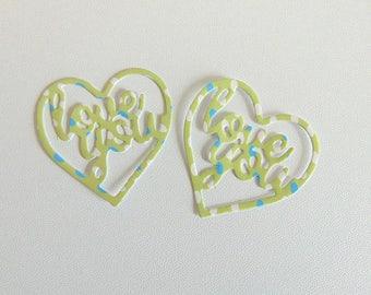 x 2 heart cut green glossy A5 ref dot love