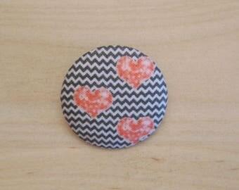 x 19mm fabric heart ref A38 1 button