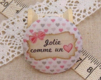 x 1 button fabric 38 pretty as a heart