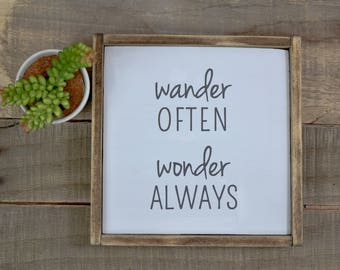 wood sign | wander often wonder always | rustic sign | wanderlust | wander sign | wanderlust decor | home decor | rustic decor