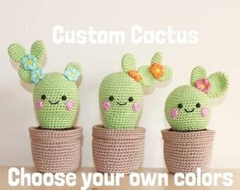 Custom Cactus/ Crochet Cactus/ Cactus Plant/ Amigurumi Cactus/ Stuffed Cactus/ Cactus Toy/ Kawaii Cactus/ Decorative Cactus/ Playroom Decor