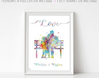 Custom names personalized for couple love art print, painting illustration couple on a bench, love, wedding gift