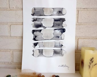 Original painting in neutral colours on cotton paper with