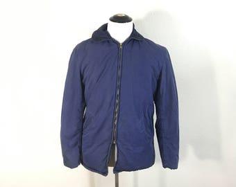 50's vintage cotton quilt lined jacket navy blue size medium