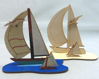 Tinker set 2 sailing ships, to paint and paste of wood