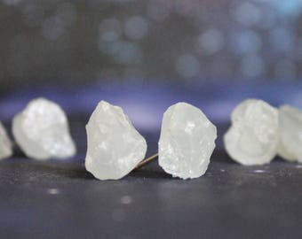 Aquamarine Earrings, Raw Stone Earrings, Aquamarine Crystal, Raw Aquamarine Earrings, March Birthstone, Raw Crystal Earrings, Gemstone studs