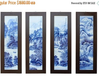 wholestoreSALE Chinese Blue White Porcelain Scenery Wall Panel Set cs2426E