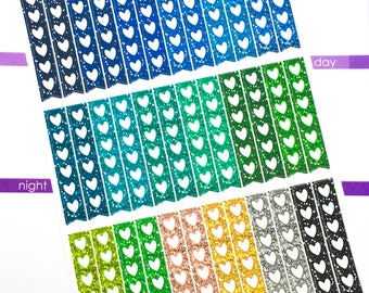 Glitter - heart check list Sticker - cool   Planner Stickers, Functional sticker, check list sticker, glitter quarter check list sticker