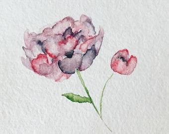 Purple Peony Original Watercolor Painting