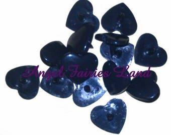 Set of 20 complete sets of plastic snap fasteners KAM heart shape - B05 Black