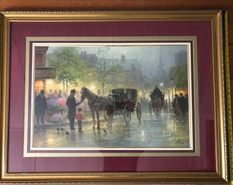 Cabbies At The Market by G Harvey - Large Limited Edition Framed Signed Print with Certificate of Authenticity