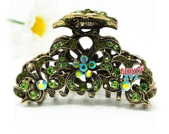green Crystal Metal Hair Claws Clips Pins flowers design Hair Accessories