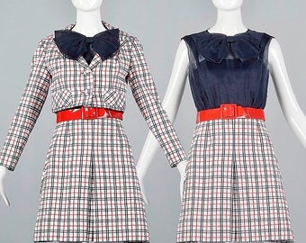 SALE XSmall 1960s Two Piece Outfit Vintage 60s Sleeveless Mod Dress With Short Jacket Set Red White Blue Plaid Belt
