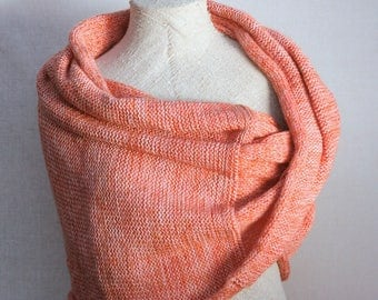 Infinity shawl / Shoulder wrap / Chunky warm stole / Throw blanket cafe wrap for outdoor entertaining - Coral