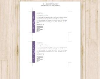 3x5 Purple Recipe Cards - Modern Printable Recipe Cards, Card Recipe - Recipe Card Template - MS Word *Instant Download*