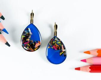 """Earrings blue electric """"Chromatic"""" made with pencils chip"""