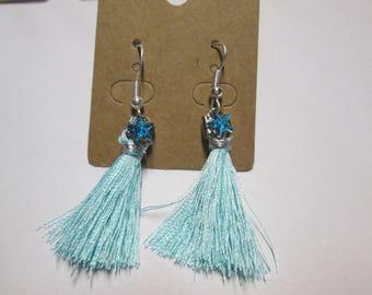sky blue tassel earring