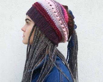 Dreadlock Hat,  Dreads Beanie,  Slouchy Beanie,  Rasta Beanie cap,  Dread Tube,  Hats for dreads,   Long Hairhat,  OOAK,    Ready to ship