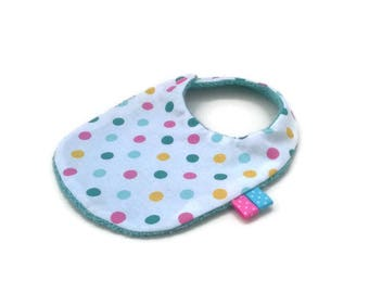 White cotton with dots and sponge blue bib