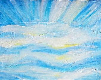 Rays of Sunlight Blue Sky II, original acrylic painting on canvas, 7 x 5