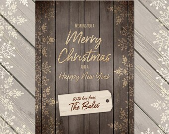 Rustic Holiday Cards, Personalised Xmas Card, Rustic Christmas Card, Christmas Photo Card, Custom Festive Card, Personalised Photo Card